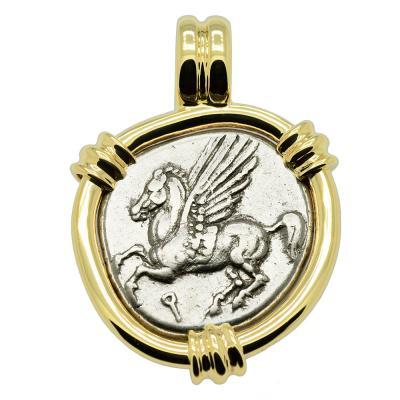 Corinth 375-300 BC Pegasus stater in gold pendant