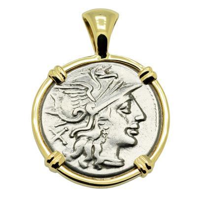 Roman Republic 150 BC coin in 14k gold pendant