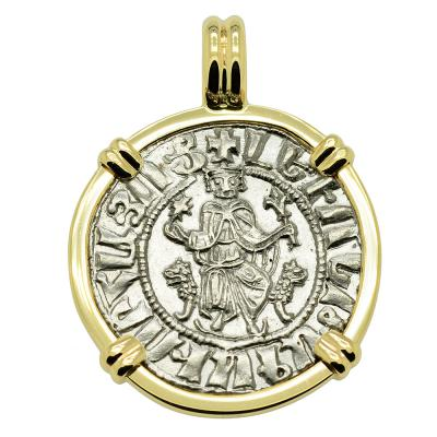 Armenia 1198-1219 King Levon I coin in gold pendant.