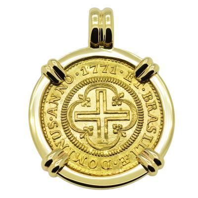 1771 Portuguese Brazil 2000 Reis in gold pendant