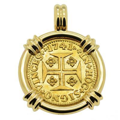 1741 Portuguese 1000 Reis in gold pendant