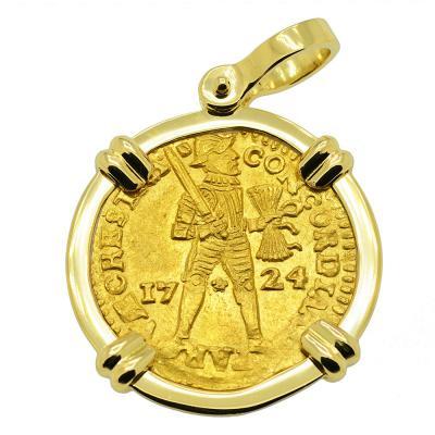 1724 Dutch Akerendam Shipwreck ducat in 18k gold pendant