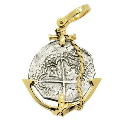 1612- 1616 Spanish 2 reales in gold anchor pendant