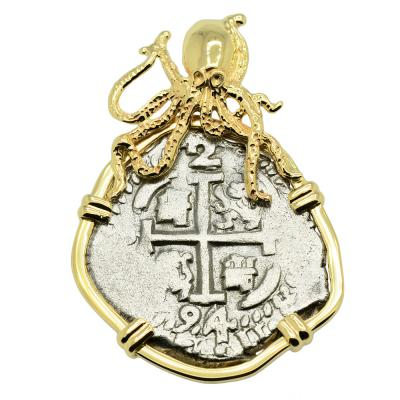 1694 Spanish 2 reales in gold octopus pendant