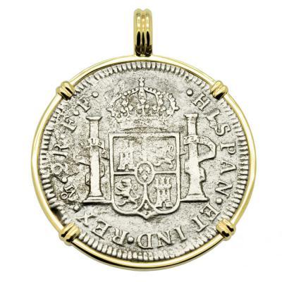 El Cazador Shipwreck Treasure coin in gold pendant