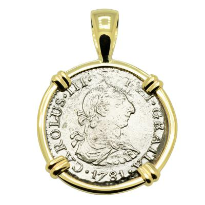 1781 El Cazador 1/2 real coin in gold pendant