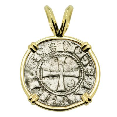 Authentic Antioch Crusader Cross Coin Gold Pendant