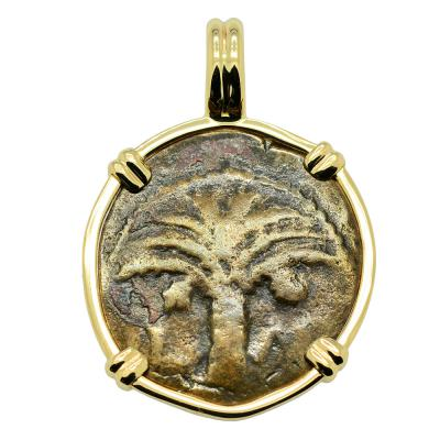 AD 6 - 12, Palm Tree Widow's Mite in gold pendant