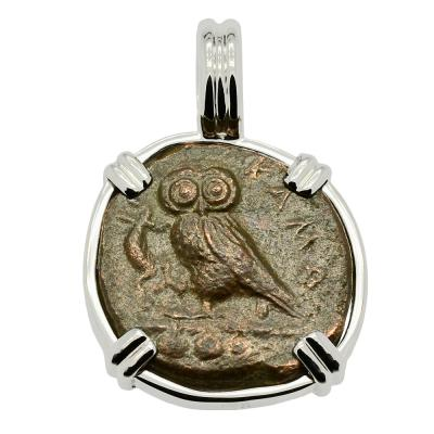 420-410 BC, Greek Owl tetras coin in white gold pendant