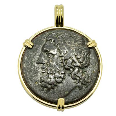 Syracuse Greek Poseidon Coin in gold pendant