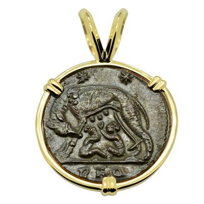 Ancient She-Wolf Suckling Twins coin in gold pendant