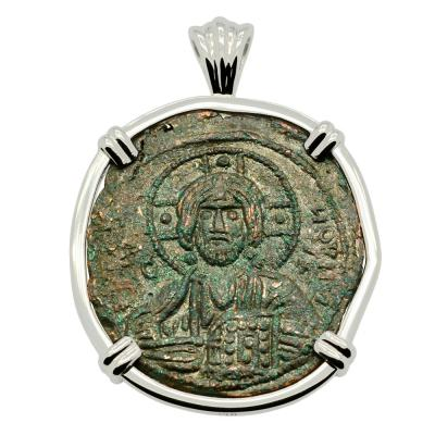 Byzantine 976-1025, Jesus Christ Follis in white gold pendant