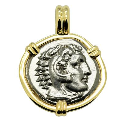 328-323 BC, Alexander the Great coin in gold pendant