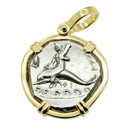 290-281 BC, Boy on Dolphin coin in gold pendant