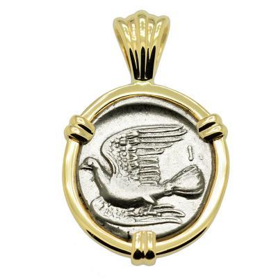 Greek 330-280 BC, Dove triobol in gold pendant