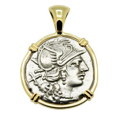 140 BC, Roma denarius coin in gold pendant