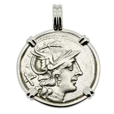 200-190 BC, Roma denarius coin in white gold pendant