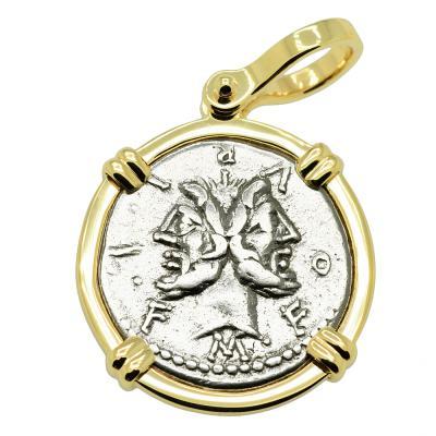 120 BC Janus and Roma denarius coin in gold pendant