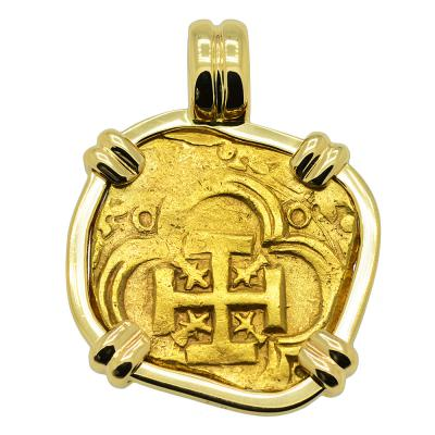 1598-1621, Spanish Doubloon in gold pendant