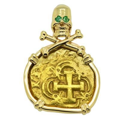 Spanish Doubloon in skull and bones gold pendant