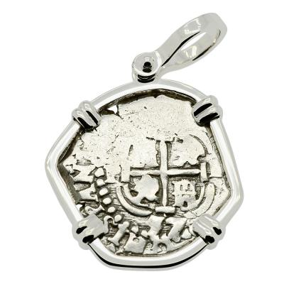 1657 Spanish Peru Philip IV one real in white gold pendant