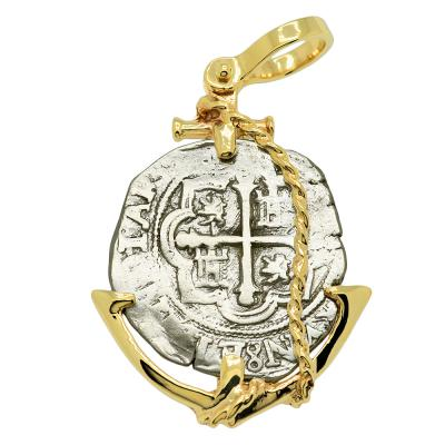 Spanish 2 reales 1610-1618, in gold anchor pendant