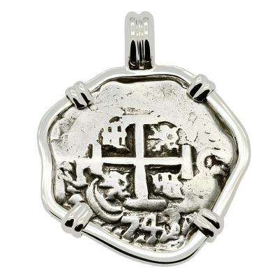 1743 Spanish 2 Reales in white gold pendant