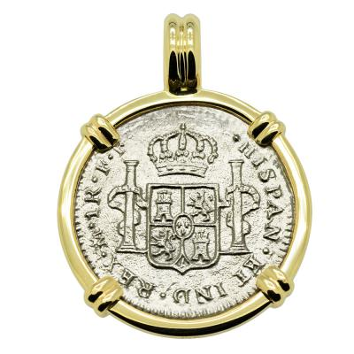 1783 El Cazador treasure coin in gold pendant