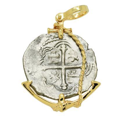1622 Sao Jose coin in gold anchor pendant