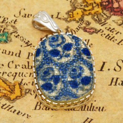 Shipwreck British Pottery in silver pendant