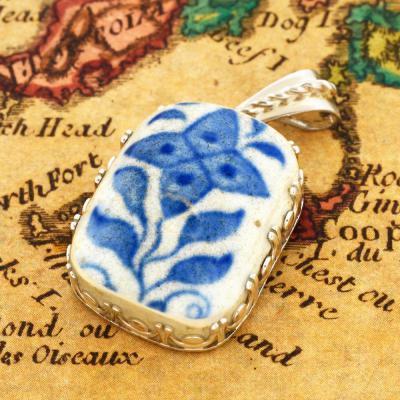 British Shipwreck Pottery in silver pendant