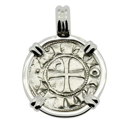1163 - 1188 Antioch Crusader Cross Coin White Gold Pendant