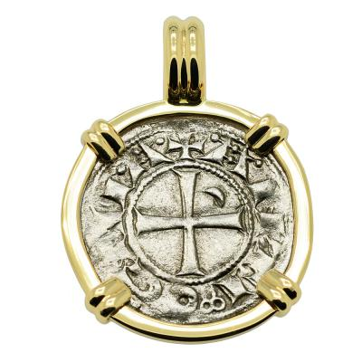 1163 - 1188 Antioch Crusader Cross Coin in Gold Pendant