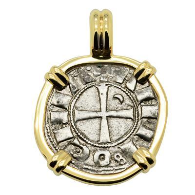 1163 - 1188 Antioch Crusader Cross Coin in Gold Pendant