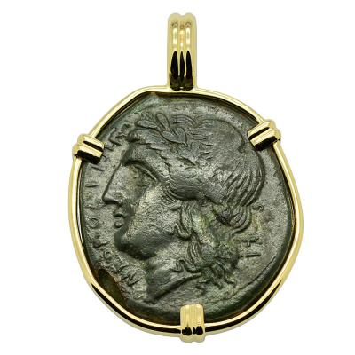 Neapolis 270-250 BC, Apollo bronze coin in gold pendant