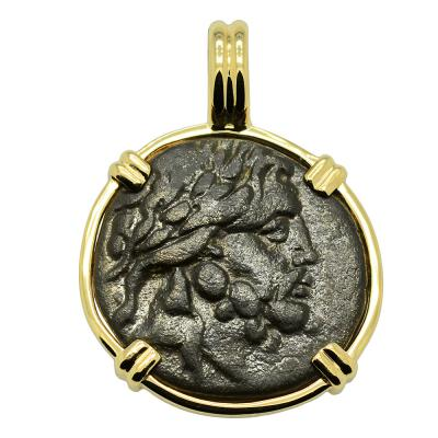 Asclepius god of Medicine bronze coin in gold pendant