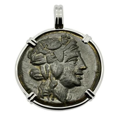 Dionysus god of wine bronze coin in white gold pendant