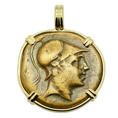 115-90 BC, Ares God of War bronze coin in gold pendant