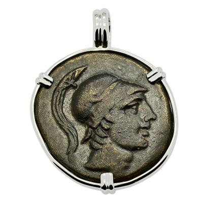 110-85 BC, Ares God of War coin in white gold pendant