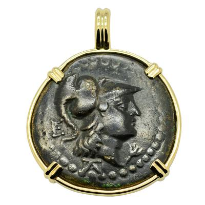 200-100 BC, Athena bronze coin in gold pendant