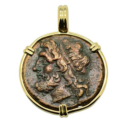 261-240 BC Syracuse Poseidon Coin in gold pendant