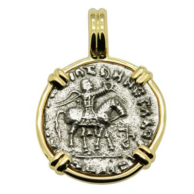 35-12 BC, King Azes II on horseback coin in gold pendant