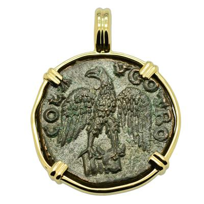 AD 250-268, Eagle coin in gold pendant