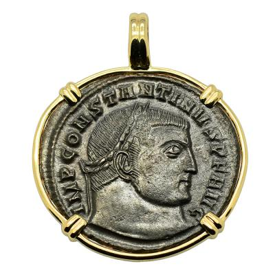Constantine the Great follis in gold pendant