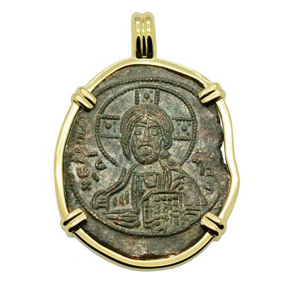Byzantine 976-1025, Jesus Christ coin in gold pendant
