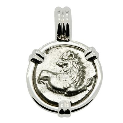386-338 BC, Lion coin in white gold pendant