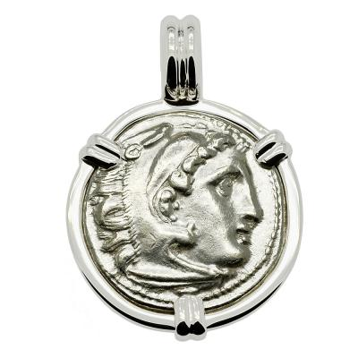 Alexander the Great coin in white gold pendant