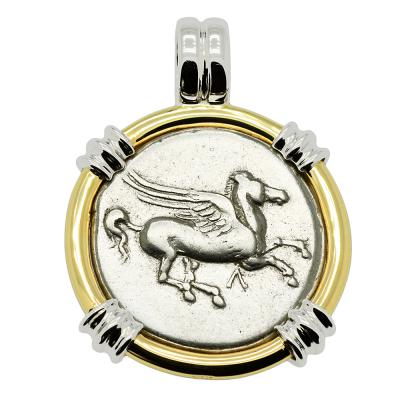 Pegasus stater coin in white and yellow gold pendant