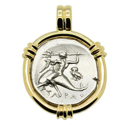272-240 BC, Boy on Dolphin coin in gold pendant