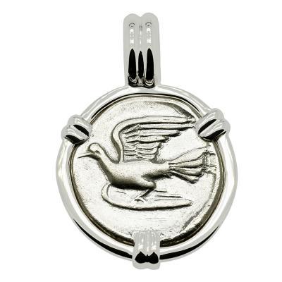 330-280 BC, Dove triobol in white gold pendant